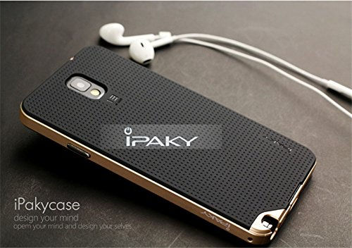 iPaky Ultra Slim Fit Dual Layer [ Soft TPU + Hard PC ] Hybrid Bumper Back Case Cover Protective Skin for Samsung Note 3 ( Gold Bumper + Black Back )