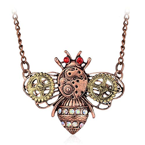AILUOR Damen Steampunk Gang-Anhänger-Halskette, Punkweinlese-Gotische Liebes-Herz-Eulen-Schmetterling Insekt Kette Pullover Halskette Schmuck Biene Einstellbar -