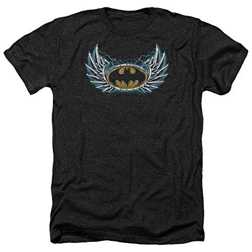 Batman Männer Stahl Flügel Logo Heather T-Shirt, Small, Black -