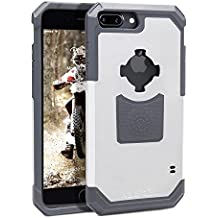 Rokform iPhone 7 PLUS Rugged Series Dual Compound Protective Phone Case with Patented twist lock mount and universal magnetic car mount (White/Gray)