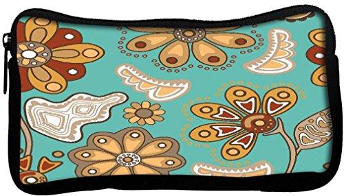 Snoogg coloré Motif floral transparente en style de dessin animé transparente Motif Poly Canvas Student Pen Trousse Porte-monnaie Utility Pouch Sac de maquillage