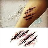 MZP Halloween terrore adesivi ferita tatuaggio spaventosi tatuaggi temporanei (1 pc)