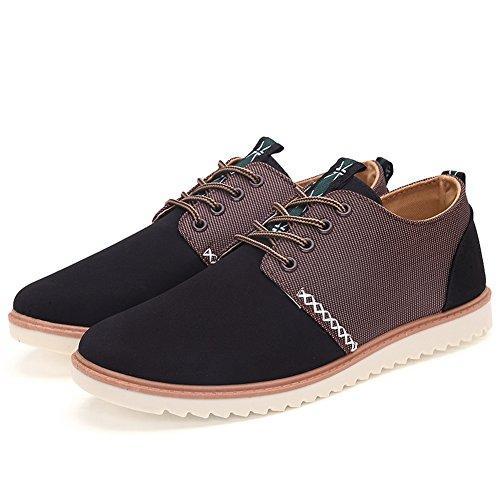 XiaoYouYu Mode Suédé Cuir Sneakers, Chaussures Décontractées de Homme Noir