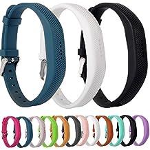 Greatfine Muñeca Silicona Banda Deportivos Bienes Accesorios de Reemplazo Correa para Fitbit Flex 2 Reloj de Pulsera Inteligente (StoneBlue/White/Black 3pcs)