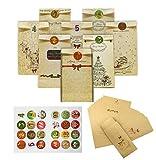 iZoeL Adventskalender 24 Kraftpapier Geschenktüten mit 1-24 Zahlenaufkleber, 8 Briefpapier & Umschlägen, Weihnachts-Geschenktüte zum Basteln und Füllung für Männer, Frauen, Paare
