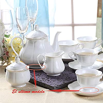Porcelain Tea Sets with Cups and Saucers - White New Bone China Tea/Coffee Cups Service Set of 6 with Teapot Sugar Bowl Cream Pitcher for Tea Coffee Home Kitchen Office Garden