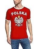 Polen T-Shirt Ringer rot, Gr.L