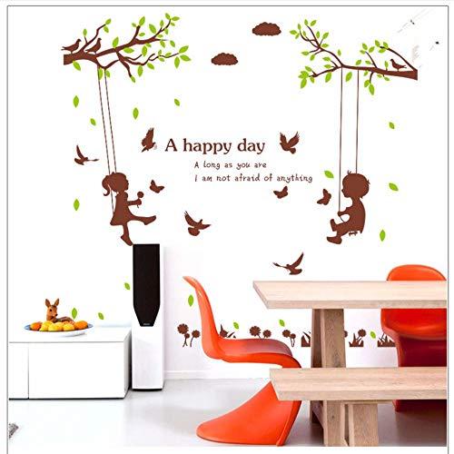 Lyqyzw Jungen Mädchen Auf Der Baumschaukel Wandaufkleber Für Schlafzimmer Kinderzimmer Kinderzimmer Dekoration Wandbild Ein Glücklicher Tag Zitat Kunst Poster