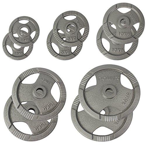 #POWRX Olympia Hantelscheiben Gewichte Gusseisen 2er Set 2,5 – 20 kg für Langhanteln Lochdurchmesser 51 mm (2.5)#