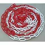PCH-6x25.0 Chaîne rouge et blanche en plastique de 6mm et 25 mètres de longueur.