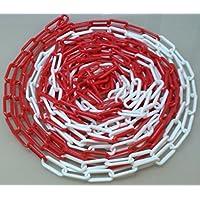 PCH-6x25.0 Cadena de plástico de color rojo y blanco de 6 mm y 25 metros de longitud