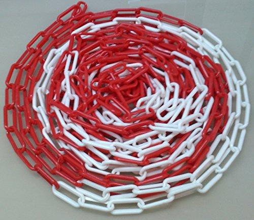 Preisvergleich Produktbild PCH-6x25.0 Rote und weiße Kunststoffkette 6 mm,  25 Meter lang