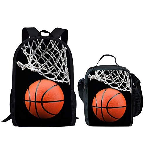 Match-brillen-brillen Herren (POLERO Mittagessen Taschen-Tasche für Kleinkind-Jungen halten Speisen warm/kalt Lunchbag und eine Reihe von Rucksack Match Bilder 2 Stück (Basketball Shooting))