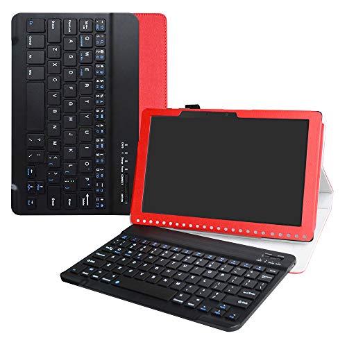 Labanema Acer B3-A50 Tastatur Hülle, Schutzhülle mit Magnetisch Abnehmbar Drahtloser Wireless Tastatur für Acer Iconia One 10 B3-A50 10,1 Zoll 2018 Tablet - Rot