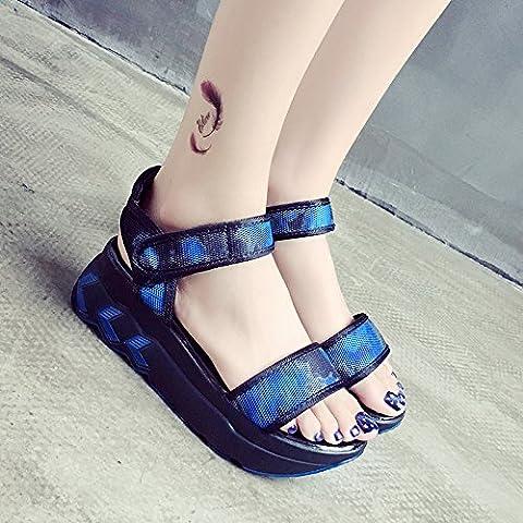RUGAI-UE Sandales d'été magique des souliers plats, trente-cinq, bleu