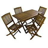 Edenjardi Conjunto jardín de teca | Mesa rectangular 120 cm y 4 sillas plegables | Madera teca grado A | Tratamiento al agua aplicado | Portes gratis