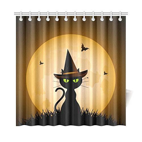 JOCHUAN Wohnkultur Bad Vorhang Halloween Katze Trägt Hexen Hut Gegen Polyester Wasserdicht Duschvorhang Für Badezimmer, 72X72 Zoll Duschvorhang Haken Enthalten