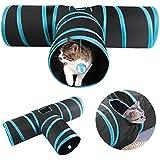 Yaheetech Katzentunnel Katze Spielzeug Hundenspielzeug Spieltunnel Faltbarer 3-Wege-Spiel Tunnel für Katze Hunde und Kleintiere Blau