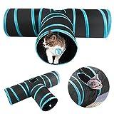 Yaheetech Katzentunnel, Katze Spielzeug Hundenspielzeug Spieltunnel Faltbarer 3-Wege-Spiel Tunnel für Katze Hunde und Kleintiere Blau