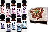 10 Botellas Aceites Esenciales Perfumados en Caja de Regalo.Colección Aromatherapy Essentials 20 - 29 Jazmín, almendra, cereza, opio, melocotón, naranja, almizcle, orquídea, cereza silvestre