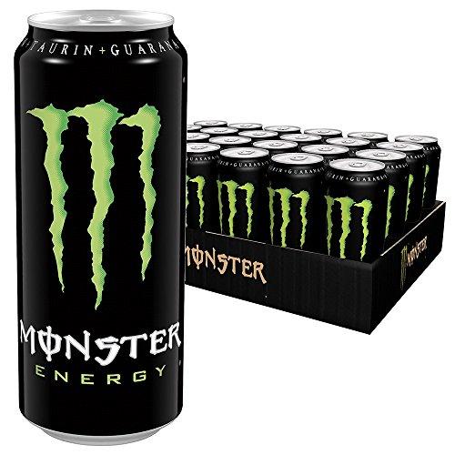 Monster Energy mit klassischem Monster-Geschmack - für gewaltige Energie, Energy Drink Palette, EINWEG Dose (24 x 500 ml) -