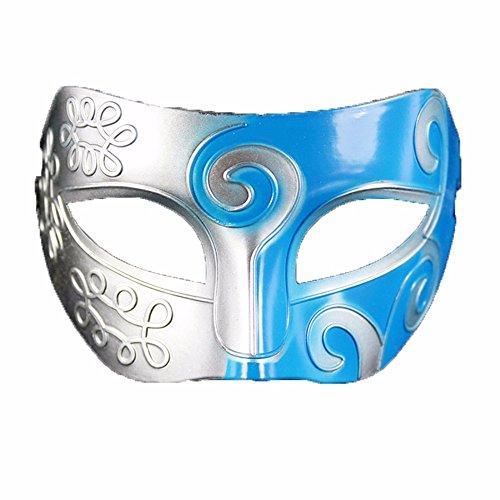 ONE-K Mask Spitze Halloween Ball Maske Half Face Flachkopf Herren Maske Party Event Make-up Maske, Silber Blau