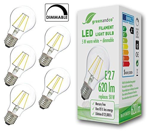 5x greenandco® Glühfaden LED Lampe dimmbar ersetzt 50 Watt E27 Birne, 5W 620 Lumen 2700K warmweiß Filament Fadenlampe 360° 230V AC nur Glas, flimmerfrei, 2 Jahre Garantie (Sockel Bush)