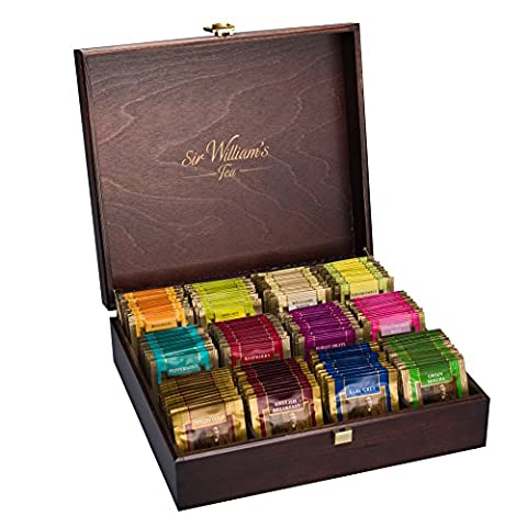 SIR WILLIAM'S Wooden Box with Premium Tea Bags - Exclusive Box with 180 enveloped teabags (15 Bags of each 12 flavors).