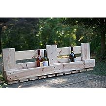 relaxedLiving Weinregal aus Paletten | Platz für Weingläser und Weinflaschen (Natur, Groß)