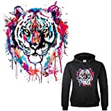 TOTAL HOME Colorful Tiger Dark Fabric Heat Transfer Sticker Patch for Household Irons, 27x22cm(Multicolour) - 1 Piece