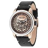 Police Herren Datum klassisch Quarz Uhr mit Leder Armband 14385JSTR/62
