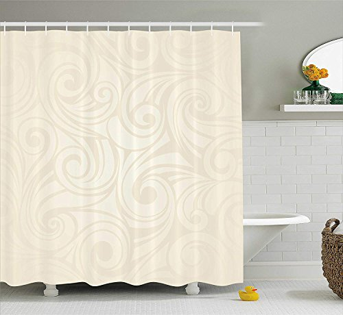 JIEKEIO Ivory Shower Curtain, Victorian Curved Renaissance Style Leaves Branches Artistic Classic Petals Illustration, Fabric Bathroom Decor Set with Hooks, 60 * 72inchs Long, Cream - Curved Fabric
