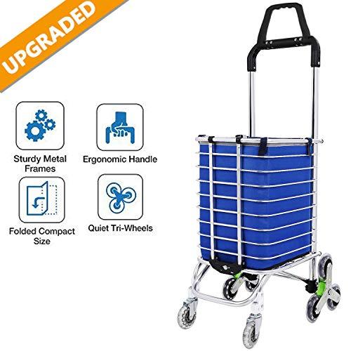 Hurbo Einkaufswagen/Einkaufswagen, zusammenklappbar, leicht, mit drehbaren Rädern und abnehmbaren, wasserdichten Canvas-Tasche Utility Carts W/Bag-3 (Utility-räder)