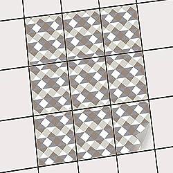 creatisto PVC Fliesen | Dekorations-Sticker Aufkleber Folie Badfolie Küchen-Fliesen Badezimmergestaltung | 20x25 cm Muster Ornament Triangle Pattern - Grau - 9 Stück