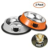 Comsmart Stainless Steel Pet Cat Bowl Puppy Dish Bowl with Cute Cats Painted Non-Skid for Small Dogs Cats (Orange/Grey)