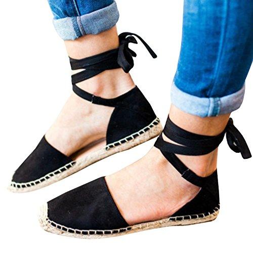 Gemijacka Damen Knöchel Schnalle Riemen Espadrilles Ausgeschnitten Binden Niet Klassischen Sommer Flache Sandale Schuhe (42, 1-Schwarz)