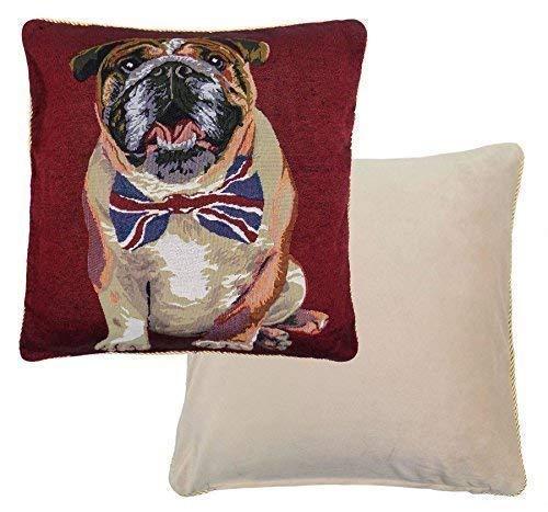 2x British Bulldog Tapisserie Baumwolle Samt Union Jack Fliege rot weiß blau gold Kissen 45,7cm-45cm -