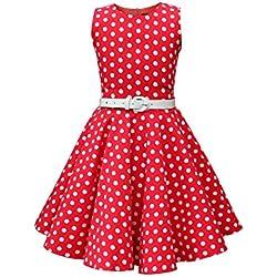 BlackButterfly Niñas 'Audrey' Vestido de Lunares Vintage Años 50 (Rojo, 5-6 Años)