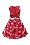 BlackButterfly Kinder 'Audrey' Vintage Polka-Dots Kleid im 50er-J-Stil (Rot, 9-10 J / 134-140)
