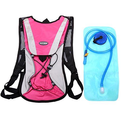 West Biking stärker Hydration Backpack + 2,5l Wasser Rucksack, muli-functions Kleine Werkzeuge Tasche, leichte Tasche für Reiten Camping Bergsteigen Bergsteigen, 6Farben Rose Set