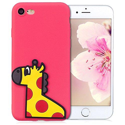 Cover iPhone 7 Case iPhone 8 Custodia SpiritsunModa Ultraslim 3D Kawaii Diy Soft TPU Case Handy Cover High Quality Case Elegante Souple Flessibile Liscio Copertura Perfetta Protezione Shell Morbido Si Cervo rosso