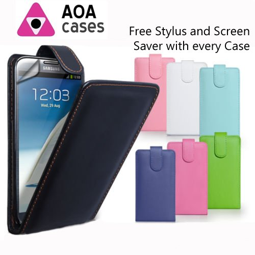 Custodia a libro in ecopelle per iPhone o Samsung vari modelli ® AOA Cases, Ecopelle, Rosa, Apple iPhone 5 5S nero