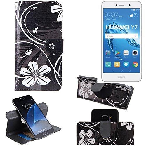K-S-Trade Schutzhülle für Huawei Y7 Dual SIM Hülle 360° Wallet Case Schutz Hülle ''Flowers'' Smartphone Flip Cover Flipstyle Tasche Handyhülle schwarz-weiß 1x