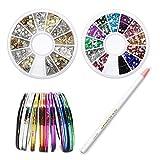 Sinsun Professional Nail Art Tape Line And Rhinestones Nail Decoration Sets, 30pcs Colors Rolls Striping Tape Line Nail Art Decoration Stickers, 2 Man