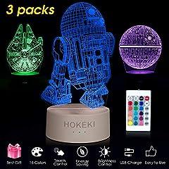 Idea Regalo - HOKEKI Lampada da notte a LED 3D, lampade star wars, lampade da comodino star wars, 16 colori a LED dimmerabile con telecomandosipossono per Home Decor, Kids, fanaticodistarwars (3 packs)