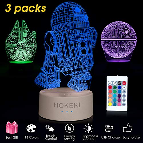 (HOKEKI 3D LED Star Wars Nachtlicht mit Fernbedienung, 3D Illusion Lampe 3 Muster+16 Farbwechsel Dekor Lampe Lichter Dimmbar Perfekte Geschenke für Kinder Todesstern+R2-D2+Millennium Falcon-3 Packs)