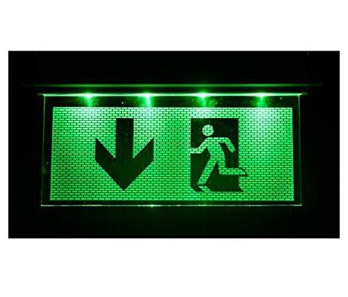 D'urgence Lampe éclairage d'urgence Exit sortie de secours fuite Lampadaire Lumière d'urgence fuite Chemin avec flèche vers le bas