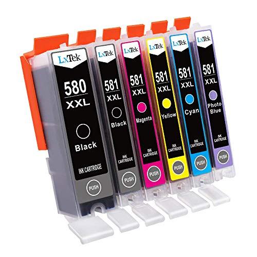 LxTek Compatible pour Canon PGI-580 CLI-581 XXL Cartouches d'encre pour Canon PIXMA TS8150 TS8151 TS8152 TS9150 TS9155 (Pigment Noir/Photo Bleu/Noir/Cyan/Magenta/Jaune)