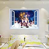 Wall Stickers - Fantasy Castle Landscape Wall Sticker 3D Simulation Fake Window Views Wallpaper Bedroom Living Room Kitchen M