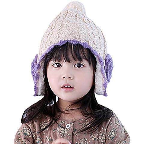 Happy Cherry - Sombrero de Lana para Niñas Gorro Gorra Tejida con Orejeras Caliente - Violeta - Talla 3-5 años 5-7 años